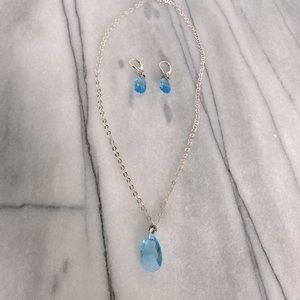 Sterling Silver Necklace (set) w/ Blue Crystal